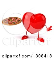 Clipart Of A 3d Heart Character Shrugging And Holding A Pizza Royalty Free Illustration