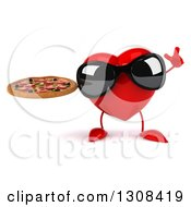 Clipart Of A 3d Heart Character Wearing Sunglasses Holding Up A Finger And A Pizza Royalty Free Illustration