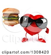 Clipart Of A 3d Heart Character Wearing Sunglasses And Holding A Double Cheeseburger Royalty Free Illustration