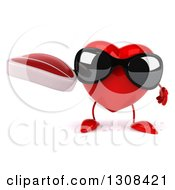 Clipart Of A 3d Heart Character Wearing Sunglasses And Holding A Beef Steak Royalty Free Illustration