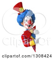 3d Clown Character Pointing Around A Sign