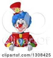 3d Clown Character Over A Sign