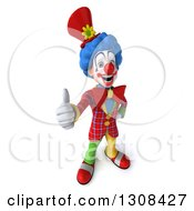 3d Clown Character Holding Up A Thumb