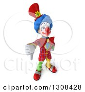 3d Clown Character Holding Up A Thumb Down