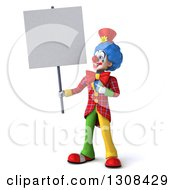 3d Clown Character Holding And Pointing To A Blank Sign