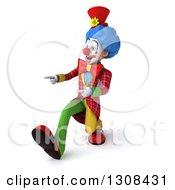 Clipart Of A 3d Clown Character Speed Walking And Pointing To The Left Royalty Free Illustration