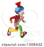 3d Clown Character Sprinting To The Right