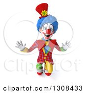 3d Clown Character Looking Up And Jumping