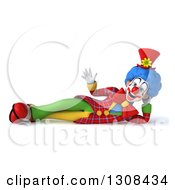 Clipart Of A 3d Clown Character Resting On His Side And Waving Royalty Free Illustration by Julos