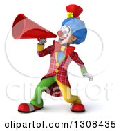 3d Clown Character Announcing To The Left With A Megaphone