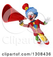 3d Clown Character Jumping And Announcing With A Megaphone