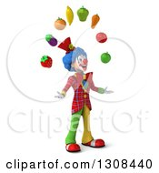 3d Clown Character Facing Right And Juggling Produce