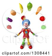 3d Clown Character Looking Up And Juggling Produce