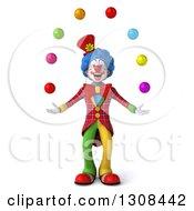 3d Clown Character Juggling Colorful Balls