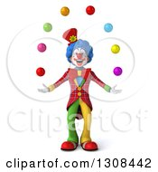 Clipart Of A 3d Clown Character Juggling Colorful Balls Royalty Free Illustration