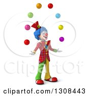 Clipart Of A 3d Clown Character Facing Right And Juggling Colorful Balls Royalty Free Illustration