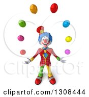 3d Clown Character Looking Up And Juggling Colorful Balls