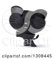 Clipart Of A 3d Black Kitten Pointing To The Left And Standing On His Hind Legs Royalty Free Illustration