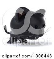 Clipart Of A 3d Black Kitten Walking To The Right Royalty Free Illustration by Julos
