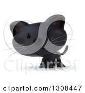 Clipart Of A 3d Black Kitten Royalty Free Illustration