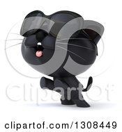 Clipart Of A 3d Black Kitten Wearing Sunglasses Rearing And Facing Slightly Left Royalty Free Illustration