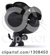 Clipart Of A 3d Black Kitten Wearing Sunglasses Rearing And Facing Slightly Right Royalty Free Illustration