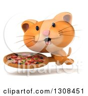 Clipart Of A 3d Ginger Cat Running With A Pizza Royalty Free Illustration by Julos