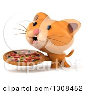 Clipart Of A 3d Ginger Cat Facing Slightly Left And Holding A Pizza Royalty Free Illustration by Julos