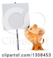 Clipart Of A 3d Ginger Cat Smiling Up At A Blank Sign Royalty Free Illustration by Julos