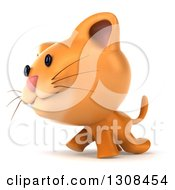 Clipart Of A 3d Ginger Cat Walking To The Left Royalty Free Illustration by Julos