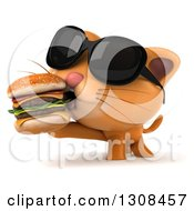 Clipart Of A 3d Ginger Cat Wearing Sunglasses And Eating A Double Cheeseburger Royalty Free Illustration by Julos