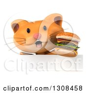 Clipart Of A 3d Ginger Cat Wearing Sunglasses And Holding A Double Cheeseburger Over A Sign Royalty Free Illustration by Julos