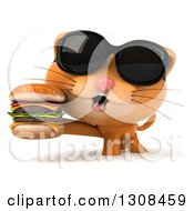 Clipart Of A 3d Ginger Cat Wearing Sunglasses And Holding A Double Cheeseburger Royalty Free Illustration by Julos