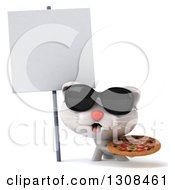 Clipart Of A 3d White Kitten Wearing Sunglasses And Holding A Pizza By A Blank Sign Royalty Free Illustration