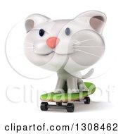 Clipart Of A 3d White Kitten Skateboarding Royalty Free Illustration