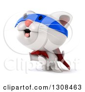 Clipart Of A 3d White Kitten Super Hero Rearing And Facing Slightly Left Royalty Free Illustration