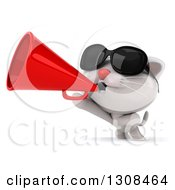Clipart Of A 3d White Kitten Wearing Sunglasses And Announcing To The Left With A Megaphone Royalty Free Illustration