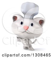 Clipart Of A 3d White Chef Kitten Presenting To The Left Royalty Free Illustration