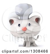 Clipart Of A 3d White Chef Kitten By A Sign Royalty Free Illustration