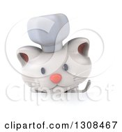 Clipart Of A 3d White Chef Kitten Looking Down Over A Sign Royalty Free Illustration