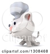 Clipart Of A 3d White Chef Kitten Walking To The Left Royalty Free Illustration