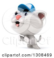 Clipart Of A 3d White Kitten Wearing A Baseball Cap And Rearing Up Facing Left Royalty Free Illustration