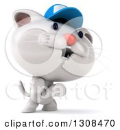 Clipart Of A 3d White Kitten Wearing A Baseball Cap And Rearing Up Facing Right Royalty Free Illustration