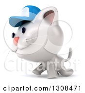 Clipart Of A 3d White Kitten Wearing A Baseball Cap And Walking To The Left Royalty Free Illustration