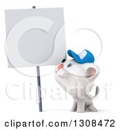Clipart Of A 3d White Kitten Wearing A Baseball Cap And Smiling Up At A Blank Sign Royalty Free Illustration