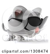 Clipart Of A 3d White And Gray Kitten Wearing Sunglasses And Walking To The Right Royalty Free Illustration