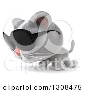 Clipart Of A 3d White And Gray Kitten Wearing Sunglasses And Walking To The Left Royalty Free Illustration