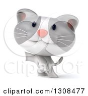 Clipart Of A 3d White And Gray Kitten Rearing Up And Presenting Royalty Free Illustration