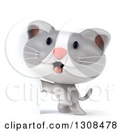 Clipart Of A 3d White And Gray Kitten Standing Up By A Sign Royalty Free Illustration