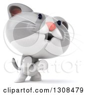 Clipart Of A 3d White And Gray Kitten Facing Right And Rearing Up Royalty Free Illustration